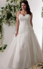 Tulle Lace Appliqued A-line plus size wedding dress With Corset Back