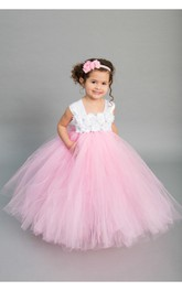 Bust Bow Satin Sash Tulle Chiffon Cap-Sleeve Princess Ruffled Ball Gown