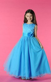 Floor-Length Waist Floral A-Line Scoop-Neckline Flower Girl Dress