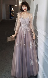 V-neck Tulle Floor-length Prom Evening Dress With Appliques and Ruffles
