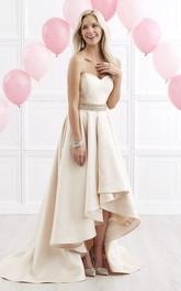 A-Line Draping Waist Jeweler High-Low Sweetheart Satin Strapless Zipper Dress