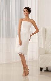 Floral Lace Appliques Strapless Lavish Dress