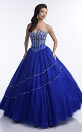 Sweetheart Beaded Ball Gown With Corset Back And bolero