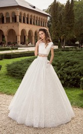 Scoop-neck Short Sleeve A-line Lace Two Piece Wedding Dress