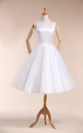 A-Line Satin Sleeveless Scoop-Neckline Wedding Short-Midi Dress