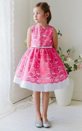 Lace Ribbon Floral Tea-Length Flower Girl Dress