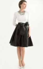 Black-and-white short A-line Dress With bowknot