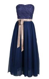 Floor-Length Lace Trim Satin Sash Long Strapless Dress