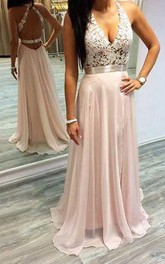 V-neck Chiffon Sleeveless Floor-length Cross Back A Line Prom Dress with Lace and Sash