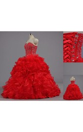 Floor-Length Organza Bell Jeweled Corset Ruffled Lace Ball Gown