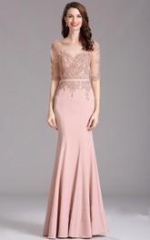 Short-Sleeve Appliqued Bateau-Neck Sheath Illusion Jersey Dress