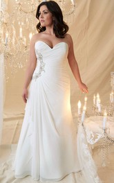 Sweetheart side-ruched Chiffon plus size wedding dress With Beading And Corset Back