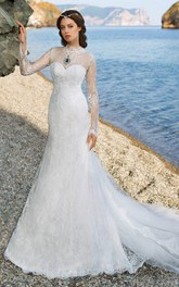 Long-Sleeve Lace Floor-Length Column Tulle Dress