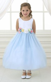 Satin Tulle Layered Flower Girl Dress