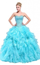 Stunning Jeweled Sweetheart Ruffled Ball Gown