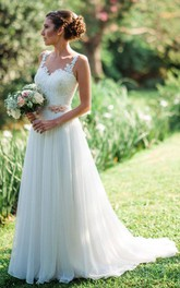 Elegant Sleeveless A Line Chiffon and Lace Straps Floor-length Brush Train Wedding Dress