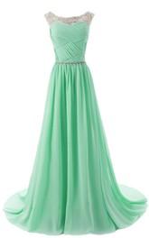 Chiffon Rhinestoned Ruched Bateau-Neckline A-Line Gown