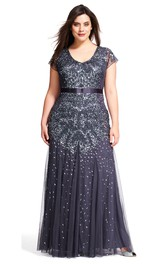 V-neck Short Sleeve Sequined plus size Dress With Zipper back