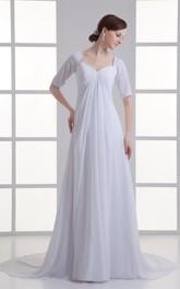 High-Waist Draping Chiffon Short-Sleeve Dress
