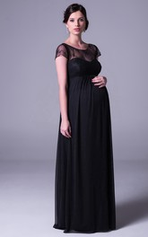 Short Sleeve scoop-neck Chiffon maternity Dress