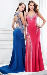Strapped Beaded Jersey Prom Dress With Beading And Split Front