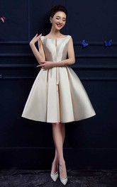 A-line Knee-length Bateau Sleeveless Satin Dress with Pleats