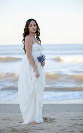 Lace Beach Floor-Length Lace Romantic Wedding Gown