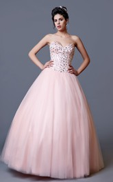 Sleeveless Sequined Top Sweetheart Fashionable Princess Ball Gown