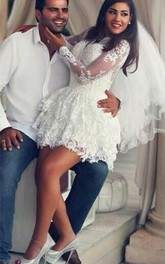 Delicate Lace Appliques Short White Homecoming Dress Long Sleeve