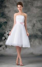 A-Line Zipper Back Bow 3-4-Length Strapless Dress