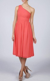 One-shoulder Chiffon Tea-length Bridesmaid Dress With Pleats