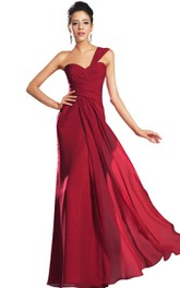 single-strap Chiffon Ruched Long Dress With Zipper