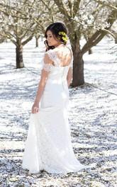 Cap-Sleeve Satin Ribbon Lace Column V-Neckline Long Dress