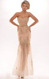 allure Strapless Trumpet Tulle Dress With Lace Appliques