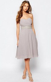 A-Line Sweetheart Jeweled Sleeveless Knee-Length Chiffon Bridesmaid Dress