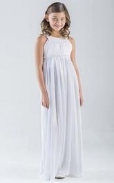 Pleated Empire Floor-Length Flower Girl Dress