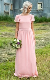 Casual Chiffon Short-sleeve Floor Length Ruched Bridesmaid Dress