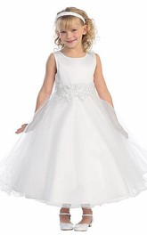 Layered Tea-Length Floral Lace Flower Girl Dress