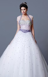 Ombre Glamorous Beauty Fading Beadwork Princess Fitted-Bodice Gown
