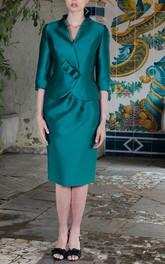 formal V-neck Half Sleeve Pencil Satin Knee-length Dress With jacket