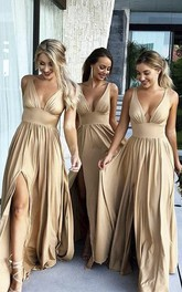 Plunging V-neck Sleeveless Empire Bridesmaid Dress With Front Split And Pleats