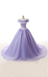 Long Ruffled Lace-Up Organza Lace Satin Ball Gown