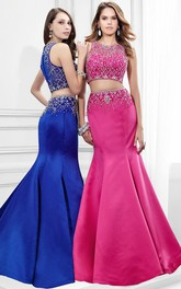 Mermaid Jewel-Neck Sleeveless Satin Two Piece Prom Dress With Beading