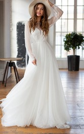 Bateau Chiffon Long Sleeve Court Train Deep-V Back A Line Wedding Dress