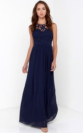 Empire Keyhole Back Stunning Chiffon Gown