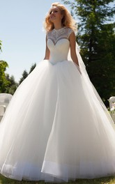 High Neck Cap-sleeve Tulle Ball Gown With Beading And Corset Back