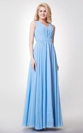 Floor-Length Keyhole Back A-Line V-Neckline Bridesmaid Dress