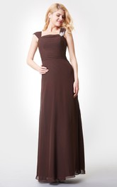 A-Line Strapped Chiffon Detailed Crystal Floor-Length Dress