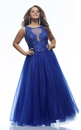 Scoop-neck Sleeveless Tulle A-line Dress With Beading And Illusion
