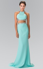 2-Piece Jeweled Column High-Neck Jersey Sleeveless Dress